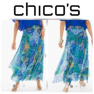 Medalliand Tile Mesh Flowing Midi Skirt Chicos NWT